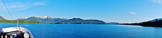 The view forward through Wrangell Narrows