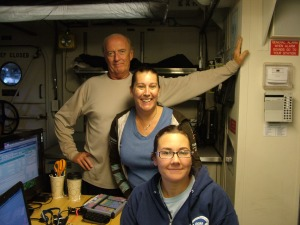 """John Reed, Stephanie Farrington and I in the dry lab aboard the NOAA vessel """"Pisces""""."""