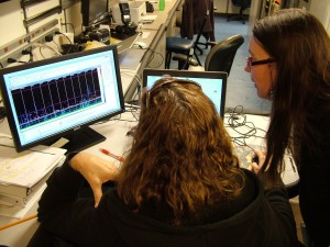 Laura shows me the raw data from the multi-beam mapping.