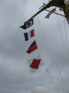 The flags for the call sign of the Rainier.  From top to bottom they read WTEF.