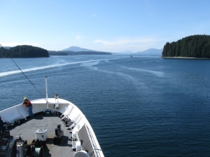 A view of the bow of the ship from the flying bridge as we began to get underway.