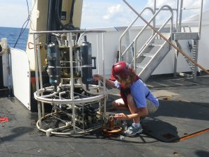 Taking water samples from the CTD