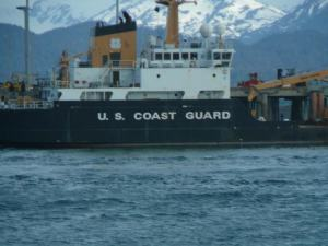 U. S. Coast Guard Ship docked in the Deep Water Dock of the Homer Spit.