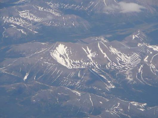 Overlooking the Canadian Rocky Mountains from the plane.