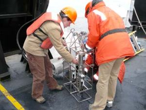 Assistant Survey Technician Stephanie Mills and Physical Scientist Megan Palmer prepare the CTD for deployment