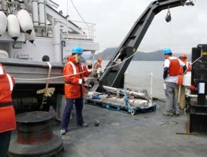 I assist in sending the CTD line to the bottom of the ocean