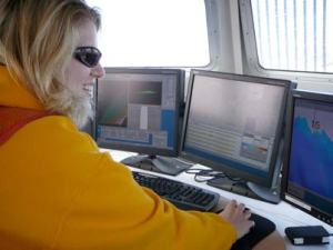 I work the computer system, logging data as we cruise through our polygon