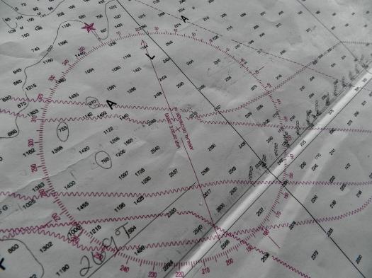 Magnetic declination on compass rose near Kenai Peninsula