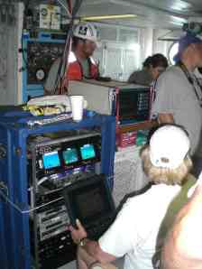 Deployment of the ROV by NOAA scientists and crewmembers at Option 2 from the rear deck of the FREEDOM STAR.