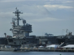 Norfolk is a major naval base. We passed by this aircraft carrier with a plane sitting on its deck.