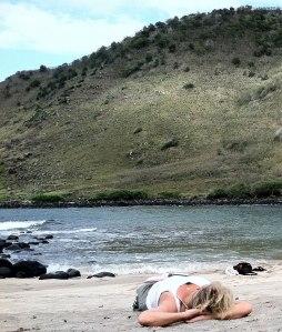 On Beach at Halawa Falls
