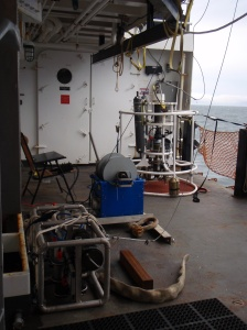 From left to right: DropCam, winch, CTD (Conductivity, Temperature, Depth),