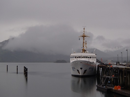 First view of the Rainier in the Kodiak Port