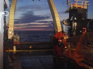 A sunset trawl in progress