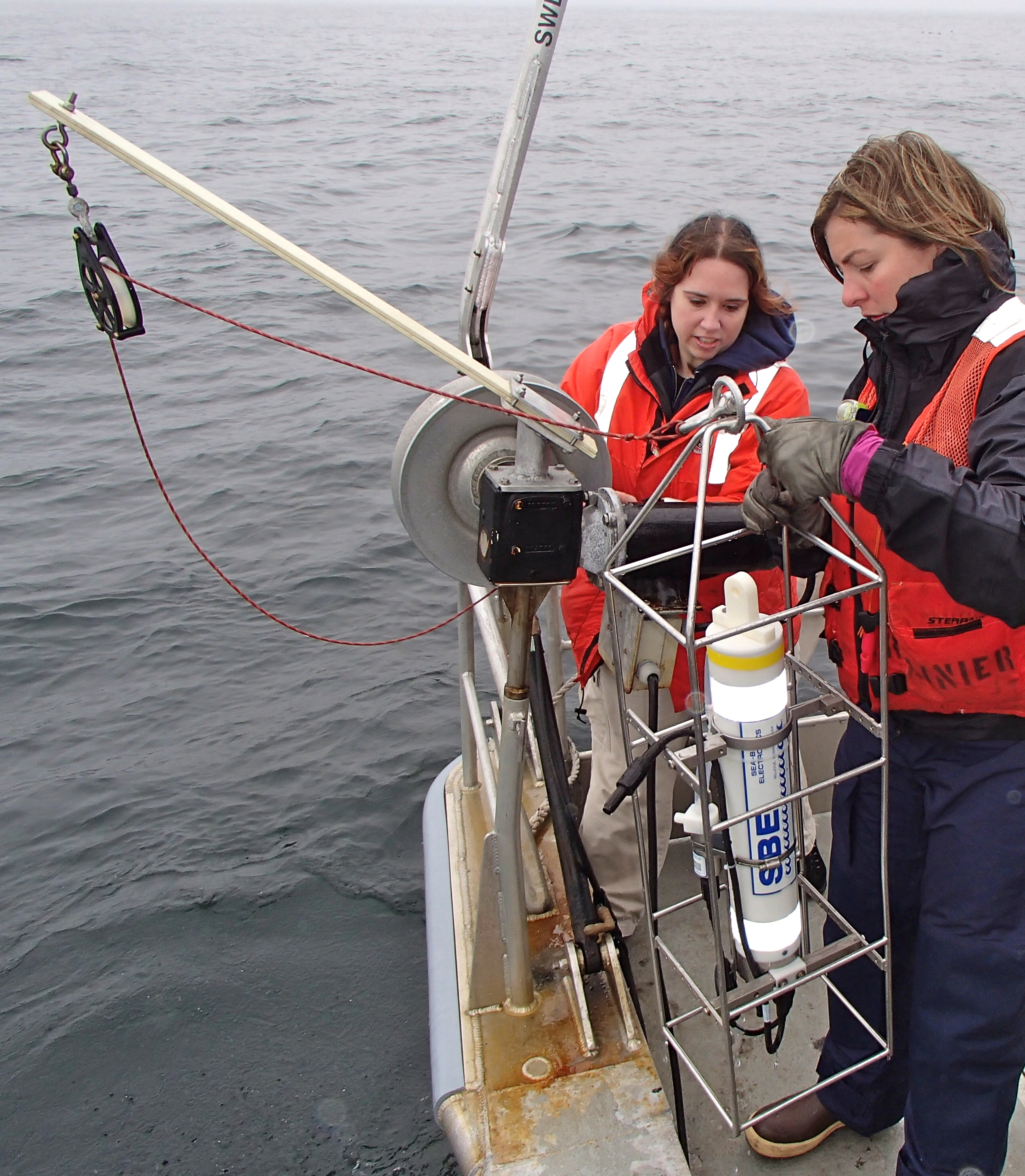 Avery successfully hauls in the CTD out of the water.
