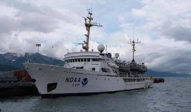 My first view of the NOAA ship RAINIER at the dock in Seward, AK.