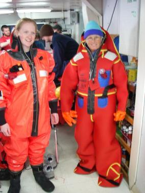 TAS Peterson in her survival suit during an Abandon Ship drill. The wind was gusting up to 30 knots so we reported to our indoor donning stations.