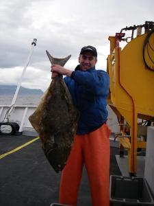 A large halibut caught by Lt. Ben Evans.