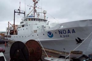 NOAA ship ALBATROSS IV in port at Woods Hole, MA.