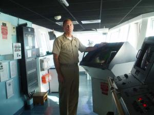 Captain Gary Petrae on the bridge of the RON BROWN