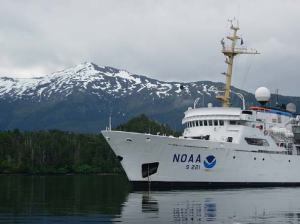 NOAA ship RAINIER, anchored in Islet Passage.