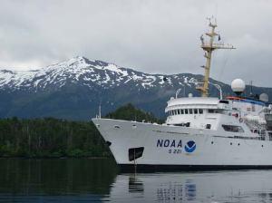 NOAA ship RAINIER, anchored in Islet Passage.