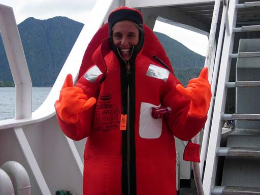 Shaka Hawaii! Jessica Schwarz sends aloha to her home on the Big Island while wearing her Gumby suit onboard the NOAA ship RAINIER.
