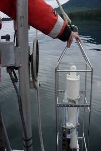 Getting ready to lower the CTD, Conductive Temperature and Depth tool.