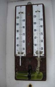 Dry bulb and wet bulb used to record air temperature from the RAINIER.