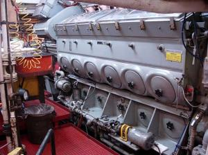 Photo of the port main engine. The starboard main engine is not shown but looks exactly the same and is directly across from the port engine.