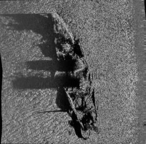 Sonar image of a shipwreck