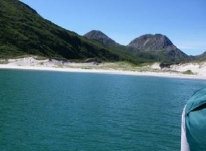 White sand beach and dunes on Nagai Island.