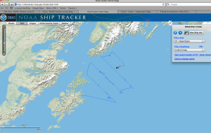 Screen Shot of Oscar Dyson Transect Line Travel