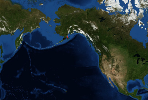 The red triangle shows the location of the  Oscar (photo courtesy of NOAA)