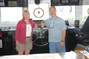 Nancy and Mark on the bridge of the NASA ship FREEDOM STAR ready to begin an awesome week as NOAA Teachers at Sea.