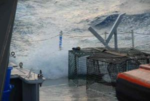 Water washed across the deck creating hazardous working conditions.