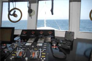 The view from the bridge of the M/V FREEDOM STAR about 100 miles of the coast of North Carolina as she  transits to the South Carolina Option.