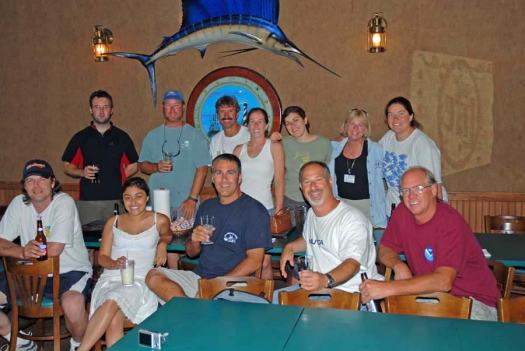 Group shot at the post cruise get together.  Front row, from left to right, Craig Bussel, Freshteh Ahmadian, Mike Nicholas, Mark Silverman, and Steve Matthews.  Back row, from left to right, Kevin Joy, Andy David, Wayne Stewart, Stacy Harter, Marta Ribera, Nancy McClintock, and Cece Linder.