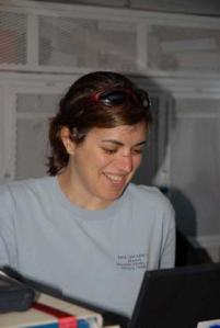 Marta Ribera smiles while recording fish and bottom composition data and location during an ROV dive.
