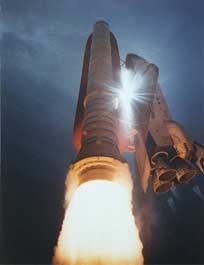 Space Shuttle lifts off from Cape Canaveral.