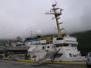 NOAA ship RAINIER docked at the US Coast Guard base in Kodiak, AK