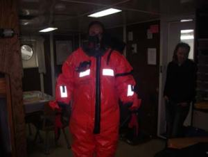 TAS Kim Wolke in her immersion suit during safety training.