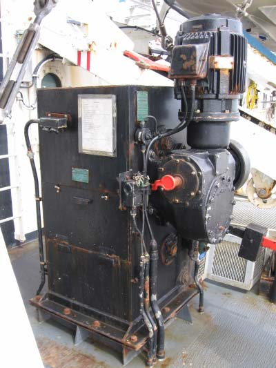 Davit winch, which helps to move the survey launches.