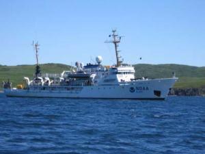 NOAA ship RAINIER anchored in Porpoise Harbor