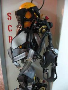 A self-contained breathing apparatus (SCBA), which supplies air if needed