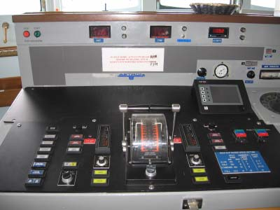 NOAA ship RAINIER'S engine control console on the bridge