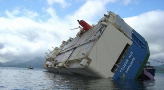 Couger Ace capsized in open ocean