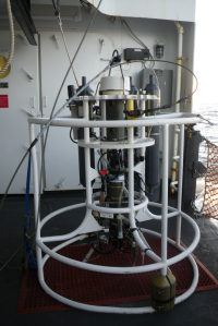 CTD drop to record physical oceanographic data