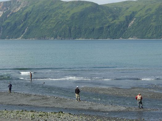Fly fisherman in Kodiak Bay
