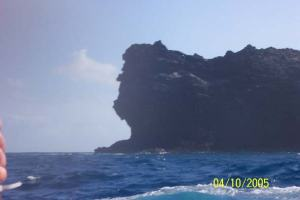 Lincoln's Head (volcanic rock) near dive site